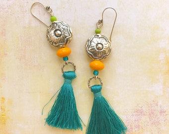 Dark Turquoise Blue Tassel Earrings Beaded Dangle Silver Tone Pewter Flower Concho Yellow Teal Southwestern Boho Western Cowgirl Gypsy Long