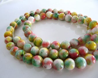 6mm Mountain JADE Beads in Yellow, Coral, Light Green and White, Dyed, Round, 1 Strand 16 Inches, Approx 66 Beads Gemstone Beads