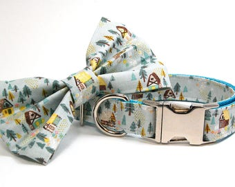 Handmade Dog Collar and Bow Tie Set - Cottage in Gray Blue - Custom Made Woodland Cabin Dog Collar with matching bowtie