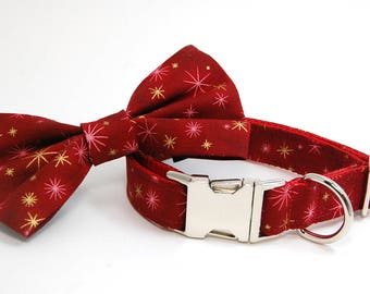 Handmade Dog Collar and Bow Tie Set - Holiday Shine in Red - Custom Made Holiday Dog Collar with matching bowtie in Gold Red and Silver