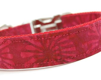 Handmade Dog Collar - Red Fireworks Collar - Custom Made Maroon Dog Collar - Collar with Round Fun Designs