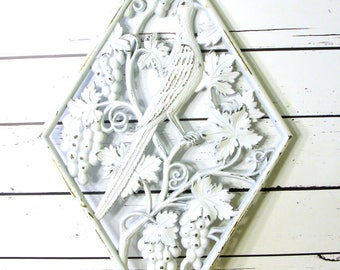 Large Distressed Shabby Chic French Cottage Wall Plaque with Pheasant Bird, Upcycled Homco Wall Decor, Country Cottage Decor