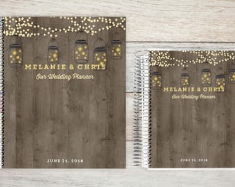 Custom Wedding Planner, Wedding Planner Organizer, Engagement gift for Bride, Bridal Gift Idea, Wedding Planning Guide, rustic lights
