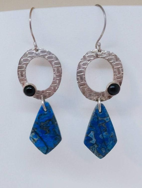 Jasper and Onyx Sterling Silver Earrings