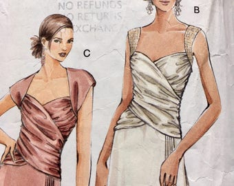 Ruched Wrap Bodice Evening Dress Pattern Sz 18 to 22 Vogue 8150