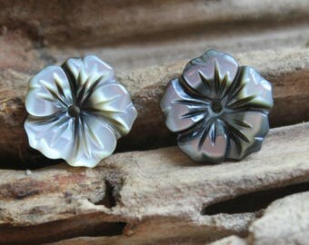 20pcs/lot -black Shell Flower Beads,mother of pearl 12mm,center drilled hole-jewelry making supplier- #1251085