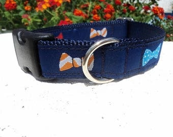 """Sale Dog Collar, Bow tie Navy, 1"""" wide Side Release or, Martingale collar, adjustable, incl dogs neck measurement see details"""