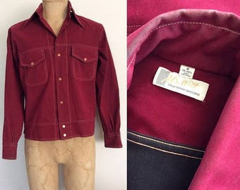 30% OFF 1950's Velvety Wine Colored Cropped Mens Jacket