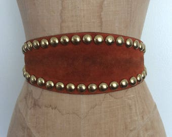 1970's Brown Leather Studded Belt