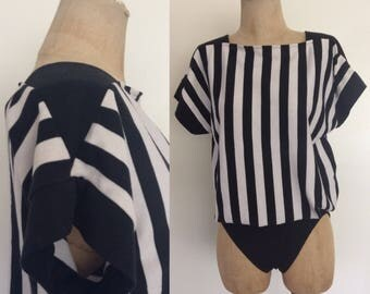 1980's Black & White Striped Onesie Bodysuit Leotard Size Small Medium Large by Maeberry Vintage