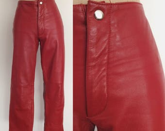 1980's Red Leather Straight Leg Pants Size Medium by Maeberry Vintage