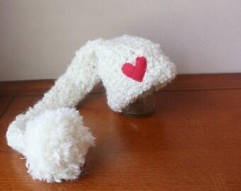 SALE - Crochet Newborn White Pixie Hat