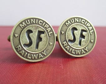 SAN FRANCISCO Railway Token Cuff Links - Vintage SF Coins, Repurposed / Upcycled