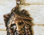 Indian Chief Head Antiqued Copper Pewter Pendant Detachable Mix and Match