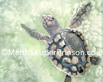 Loggerhead sea turtle watercolor giclee print, cottage chic, matted 12x16, archival ink on Canson watercolor paper, printed from my original