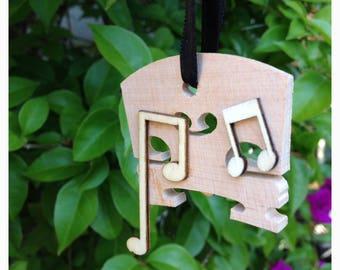 Wood Violin Bridge and Music Notes Ornament