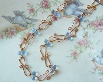 Angelika Periwinkle Glass Bead and Copper Wire Choker