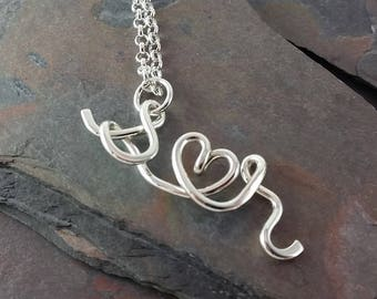 Custom Sterling Silver Lovers I Heart U Initial Pendant, Initial Jewelry, two lovers necklace