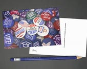 "Political Postcards: Set of 60 ""Vote"" buttons postcards, perfect for writing to your reps or get out the vote"