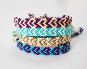 Friendship bracelet -  Macramé knotted woven Boho - geometric pattern design purple teal gold white yellow