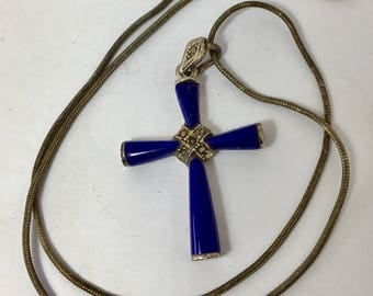 Vintage Silver, Marcasite and Blue Stone Cross Pendant Necklace Silver Chain