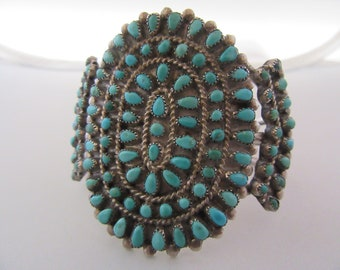 Vintage Sterling and Turquoise Handmade Multi stone Cuff Bracelet