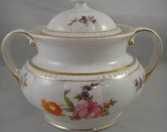 Covered Sugar K & A Krautheim Selb Bavaria White China with Floral Design