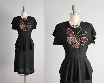 40's Butterfly Dress // Vintage 1940's Sequined Butterfly Black Rayon Peplum Dress S