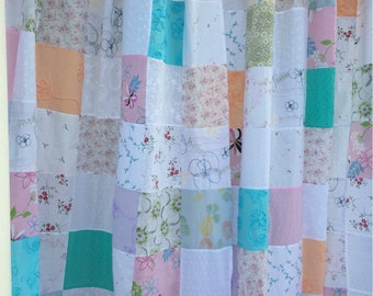 Tab Top Cotten Patchwork Curtain Panels