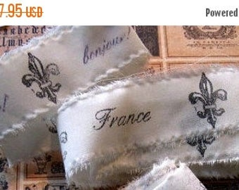 Cottage Chic Hand Stamped Fabric Trim - Scrapbooking - French inspired - Wedding - Gift Decor