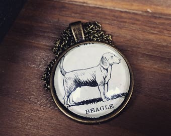 BEAGLE Necklace - Beagle Pendant - Vintage beagle - Beagle illustration - dog illustration - gifts for dog lovers - beagle keychain