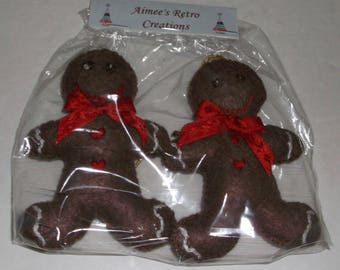 Pkg. of 2 Hand Crafted Felt Embroidered Gingerbread Man Ornaments Ornies