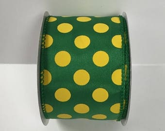ON SALE 2.5 Inch Green Yellow Dot Ribbon 224085-1015, Wired Ribbon, College Wreath Ribbon