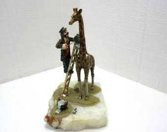 Vintage Ron Lee Large Clown Washing Giraffe '85