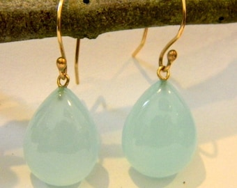 Beautiful 14k solid yellow gold with natural Aquamarine Chalcedony stone earrings