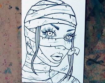 ORIGINAL Drawing Inktober - Mummy Pin Up Girl Lowbrow Horror Illustration