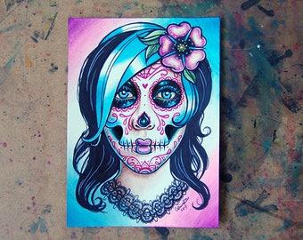 ORIGINAL PAINTING Watercolor Sugar Skull Self Portrait 5x7 inches - Girl Portrait Blue Hair - Day of the Dead Sugar Skull Tattoo Flash