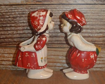 Kissing Dutch Boy & Girl Wall Pockets Planters Vases 1940's - 50's