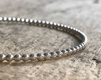 Sterling Silver Bangle, Bead Bangle, Sterling Silver Ball Bracelet, Silver Bangle Bracelet, Thin Bangle, Gifts For Her, Boho Luxe Jewelry