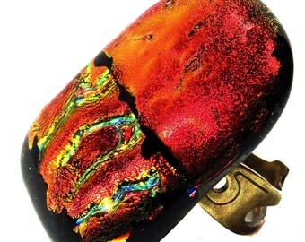 Modern rectangular fusing ring in dichroic glass, red, multicolored, luminous, handmade, unique piece