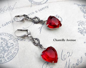 Ruby Valentine Heart Earrings, Victorian Earrings, Victorian Jewelry, Red Glass Jewel Earrings, Valentine Jewelry