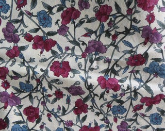 Wood Blocks by Hoffman Fabrics Beautiful Floral Print Cotton Fabric for Quilting or Sewing Burgandy and Blue Floral Print 100% Cotton