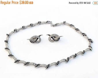 20% OFF SALE - AVON Of Belleville (Boucher) Hematite and Crystal Rhinestone Necklace and Earring Demi - Inventory Numbers 2510 and 2515