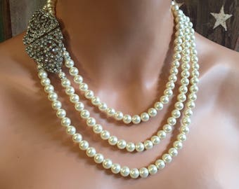Great Gatsby Pearl Necklace with Art Deco Rhinestone clasp long elegant Bridal Wedding Formal party jewelry Ivory or your choice of color