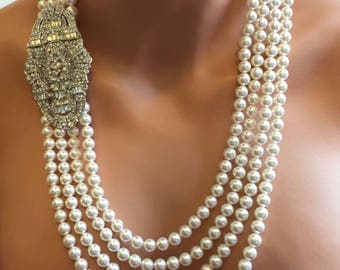Long Flapper Pearl Necklace Great Gatsby with Backdrop and Art Deco rhinestone Brooch 4 multi strands Swarovski pearls choice of color