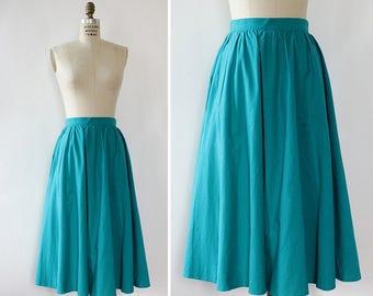 Cotton Summer Skirt S • Vintage Midi Skirt • 80s Skirt • Blue Cotton Skirt • Teal Skirt with Pockets • Midi Cotton Skirt | SK926