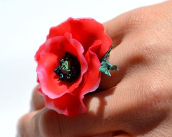 RED POPPY STATEMENT Adjustable Ring - Poppies Jewelry - One of a Kind