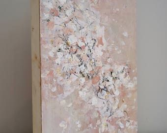 Cherry Blossom Painting Pink Painting Blush Painting Encaustic Painting Falling Wishes   16 x 12
