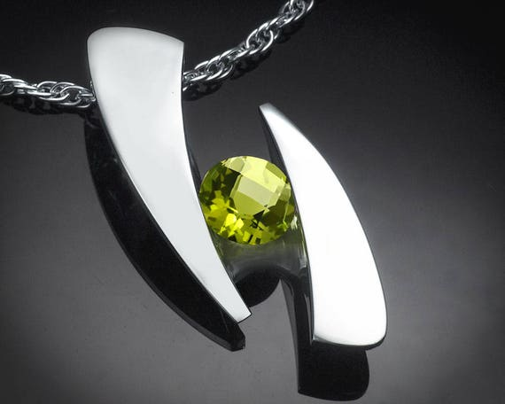 peridot statement pendant, peridot necklace, August birthstone, artisan jewelry, fine jewelry, tension set, green gemstone - 3489