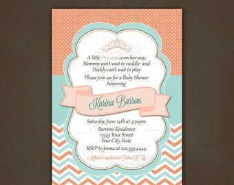 ON SALE Princess Coral and Teal Chevron Baby Shower Invitation Printable File, Girl Baby Shower, Teal & Coral, Turquoise